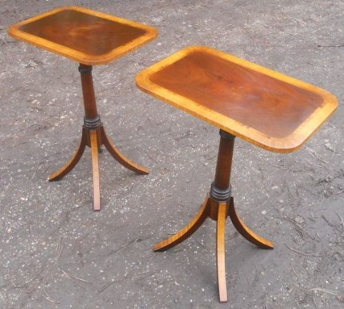 Pair Georgian Style Mahogany Pedestal Wine Tables